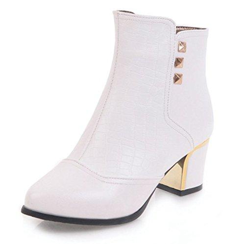 Pointu Femme Bout Bottines Rivets Moyen Chunky Low Aisun Blanc Classique Boots Talon w6AqZd6Ig
