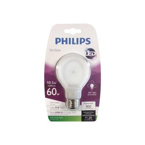 Philips 433227 10.5-watt Slim Style Dimmable A19 LED Light B