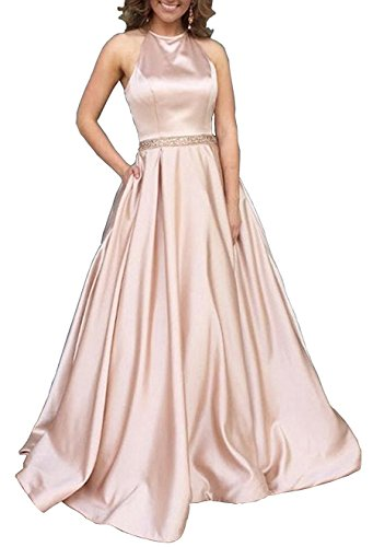 Dressytailor Women's Halter A-Line Long Satin Beaded Evening Prom Dress with Pockets Rose Gold