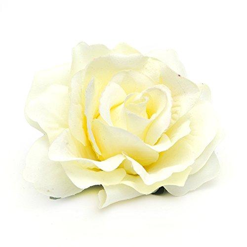 DreamLily Rose Flower Hair Clip Flamenco Dancer Pin up Flower Brooch BC10 (Ivory) -