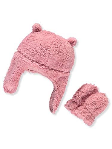 Pilot Velboa Hat & Mitten Set (12-24 Months, Pink Heart) ()