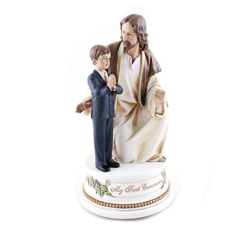Roman My First Communion Young Boy with Jesus 7 Inch Resin Stone Musical Figurine Plays The Lord's Prayer -