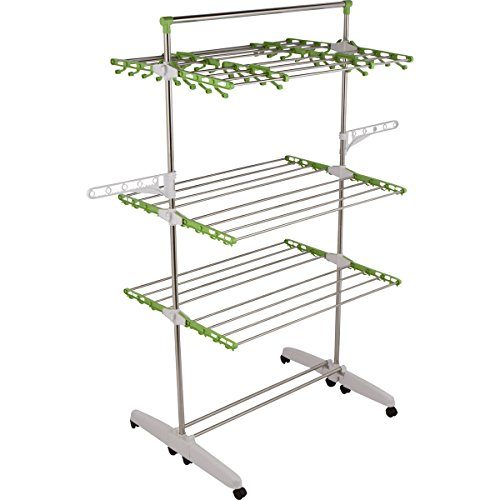 !iT Jeans High Capacity 3-Tier Premium Foldable Clothes Drying Rack - Stainless Steel - 8 Wheels- Heavy Duty All Purpose Large Size - Indoor & Outdoor