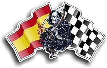 Diseño de Calavera Death Grim Reaper con Racing Bandera de España Bandera española & chequred Novelty Vinilo Adhesivo Coche 130 x 80 mm: Amazon.es: Electrónica