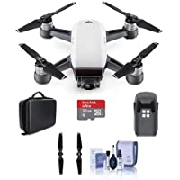 DJI Spark Mini Drone Alpine White - Bundle With Quick-Release Folding Propellers, 32GB MIcro SDHC Card, Quick-Release Folding Propellers, DJI Hard Case for Spark Mini Drone