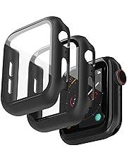 Jvchengxi (2 Stuks) Hard Case Compatibel met Apple Watch 44mm Series 6/5/4/SE Screenprotector, PC Bumper Slim HD Gehard Glas Protector Zwart Beschermhoes voor iWatch Series 6/5/4/SE - Zwart