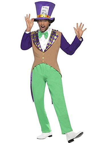 Smiffy's Men's Mad Hatter Costume Adult with Trousers Jacket Bow Tie and Hat, Multi, Medium (Men Mad Hatter Costume)