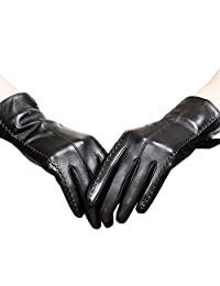 Long Keeper Women's Touchscreen Texting Driving Winter Warm PU Leather Gloves (Black)