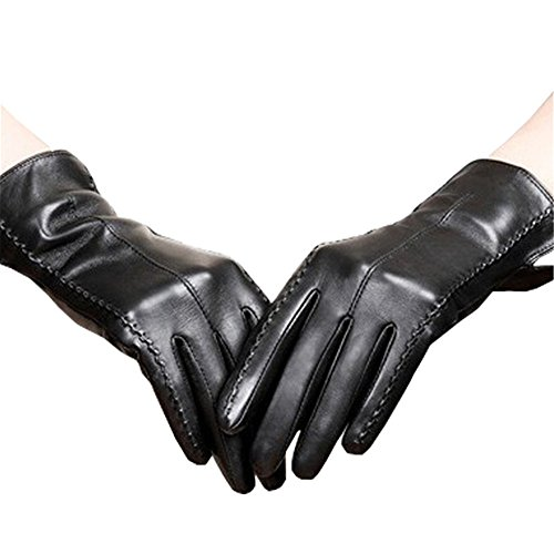 (Long Keeper Women's Touchscreen Texting Driving Winter Warm PU Leather Gloves Black,Medium)