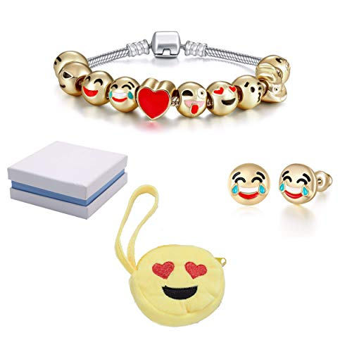 - Emoticon Slide Charm Bracelet and Earrings Set and Love-Struck Coin Purse Inside White and Blue Box. Charms are 18K Gold Plated. Bracelet is 7