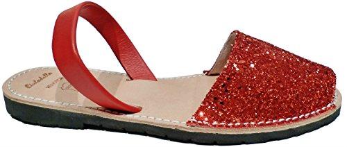 Authentische Menorcan Sandalen für Frauen , avarcas menorquinas, glitter, abarcas sandalias Glitter rojo