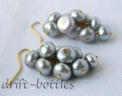 FidgetKute 7mm Flat Round Gray Freshwater Pearl Dangle Earring