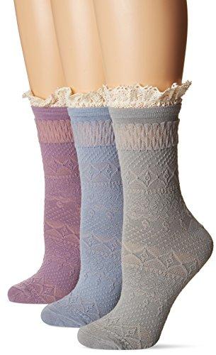 Muk Luks Women's Lace Boot Socks, Multi One Size