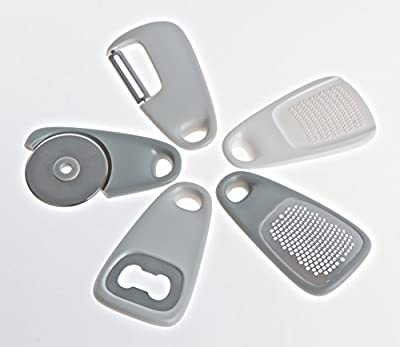 PortoFino Home & Kitchen 5 Pc. Mini Kitchen Gadget Set - Space Saving Cooking Tools / Convenient Travel-Size Food Prep Accessories - Cheese / Chocolate Grater, Garlic / Ginger Grinder, Pizza Cutter / Wheel, Bottle Opener, Fruit / Vegetable Peeler