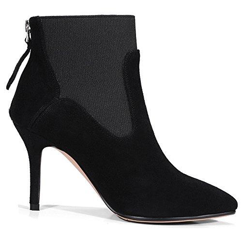 Nio Sju Mocka Kvinna Spetsiga Tå Stilett Häl Färgstarka Handgjorda Trendig Sexig Boots Svart