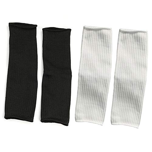 Arm Protective Sleeves, Kevlar Sleeves 45cm Cut Resistant Heat Resistant Sleeve Anti Abrasion Safety Armband for Garden Kitchen Work 2 Pair(Black White)