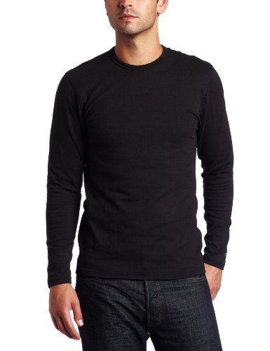 Duofold Men's Expedition Weight Two-Layer Thermal Tagless Crew, Black, Large