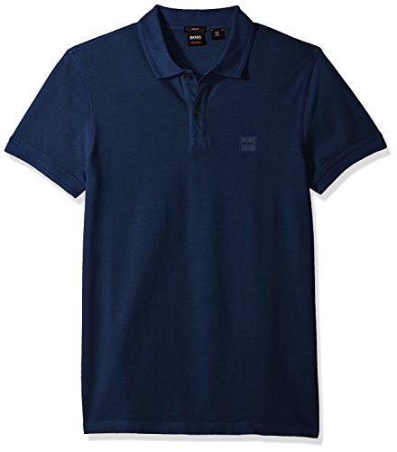 Hugo Boss BOSS Orange Men's Short Sleeve Slim Fit Garment Dyed Chest Logo Patch Polo, Royal Blue, Small