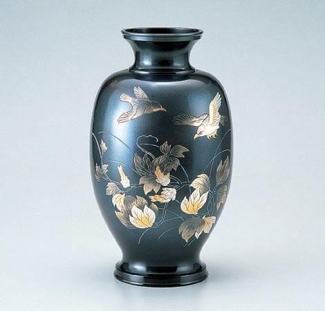 竹中銅器 銅製花瓶 山本秀峰作 鳳祥 小鳥 76-09 B00J4HWEPE