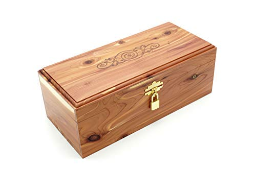 "Cedar Essence Keepsake or Memory Box 12"" L x 5.5"" W x 4.25"" H Stamped with Lock & Key"