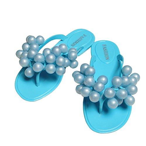 Eté Sandales Bleu Confortable pantoufles Flops Raisin Femme Chaussure Ouvert Minetom Flip Taille de Grain Chaussons EUROPE Plage Bout à plat Tongs talon xwFCq1