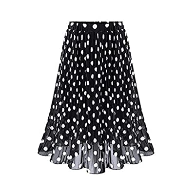 HENWERD Womens Polka Dot Pleated High Waist Midi Skirt Flared Skater Swing Holiday at  Women's Clothing store