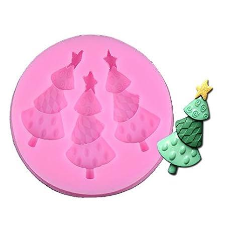 kentop Navidad Silicona Molde Para Hornear Y Manualidades Forma de Árbol de Navidad para magdalenas handgefertigte Galletas Chocolate: Amazon.es: Hogar