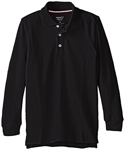French Toast Big Boys' Long Sleeve Pique Polo, Black, 14