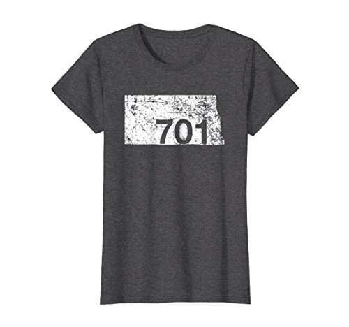 Womens North Dakota Area Code 701 Shirt, Hometown Souvenir Gift Large Dark Heather