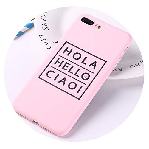 HANBINGPO for iPhone 6 6S 5 5S SE 8 8Plus X 7 7Plus Positive Quotes Hola Ciao Soft TPU Silicone Matte Case Fundas Coque Cover,12,for iPhone 8