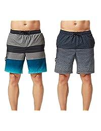 cbfda0ead7 TEXFIT 2-Pack Men's Swim Trunks with Mesh Lining, Stretch Quick Dry Fabric,