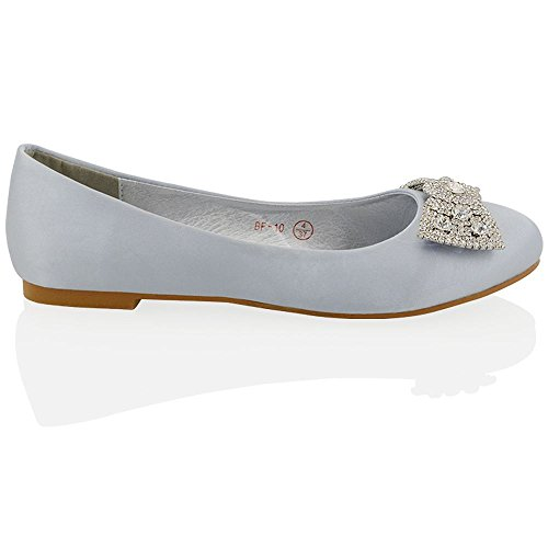 Shoes Jewelled Womens ESSEX GLAM Ladies Evening Pumps Silver Flat Brooch Wedding Bridal Dolly Satin q6PwXnw4