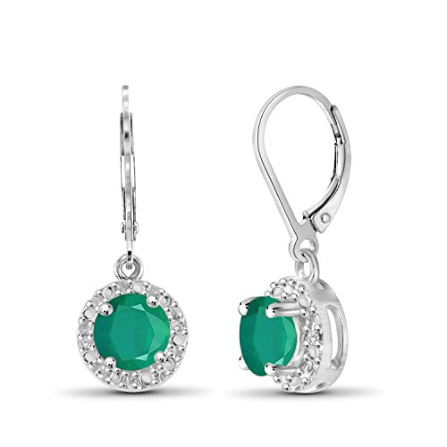 Emerald Earrings Genuine Silver (0.90ctw Genuine Emerald Gemstone and White Diamond Accent Sterling Silver Halo Earrings)