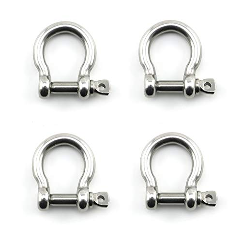 Heyous 4pcs 5/16 Inch 8mm Screw Pin Anchor Shackle Stainless Steel Heavy Duty Bow Shape Load Clamp for Chains Wirerope Lifting Paracord Outdoor Camping Survival Rope Bracelets
