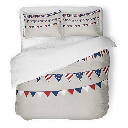 - Emvency 3 Piece Duvet Cover Set Brushed Microfiber Fabric Breathable Flag of Independence Day American Americana Bedding Set with 2 Pillow Covers Full/Queen Size
