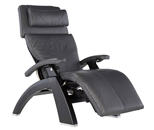 Perfect Chair Human Touch PC-420 Classic Manual PLUS Series 2 Walnut Wood Base Zero-Gravity Recliner - Gray Premium Leather - In-Home White Glove Delivery