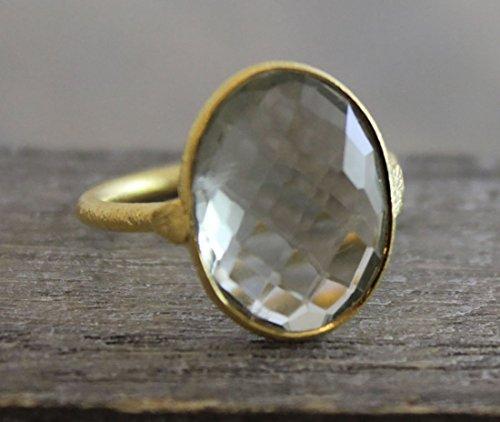 (Oval Prasiolite Green Amethyst Gemstone Gold Plated Sterling Silver Statement Ring, size 7)