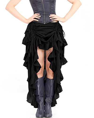 Showgirl Outfits (Steampunk Victorian Gothic Womens Costume Show Girl Skirt (Black) (X-Large))
