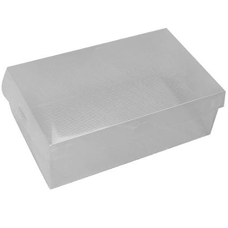 SODIAL(R) Caja de zapatos de plastica plegable - Blanco transparente: Amazon.es: Hogar