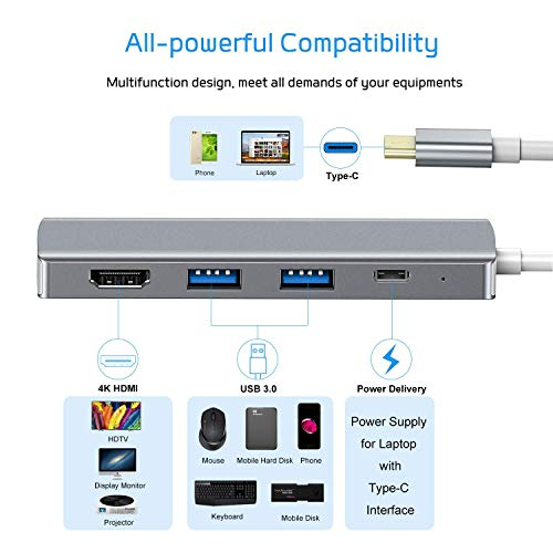 VANMASS Aluminum USB C Hub HDMI, 4 in 1 USB C Adapter, Type C to 4K HDMI Port, 60W Power Delivery, USB 3.0 Ports Compatible with MacBook, MacBook Pro/Mini, iMac, Surface, XPS and Others, Space Gray