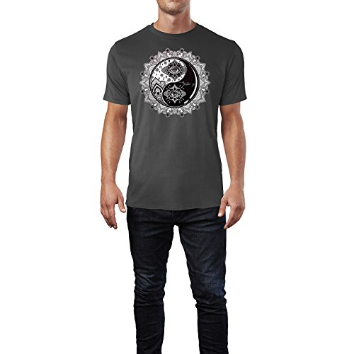 SINUS ART ® Yin and Yang Boho Mandala Symbol Herren T-Shirts in Smoke Fun Shirt mit tollen Aufdruck