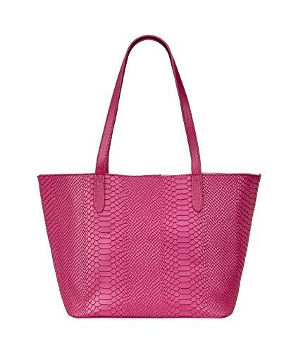 Gigi Designer Handbag - GiGi New York Women's Teddie Embossed Python Tote Peony
