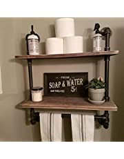 Industrial Pipe Bathroom Wall Mounted Shelves with Towel Holder, Rustic Pipe Shelving Wood Shelf with Towel Bar,Pipe Floating Shelves