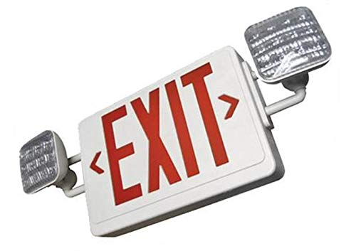 LED Exit Illumination with Reliable LED Lamp Heads (12 Ultra-Bright LEDs on Each Head) Durable Thermoplastic, Includes Two Face Plates, Red Letter & White Body with Remote Capability