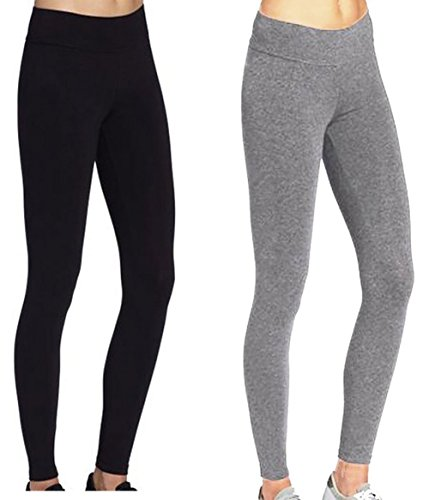 - ABUSA Women's Yoga Leggings Power Flex Tummy Control Exercise Running Workout Pants S BlackGray