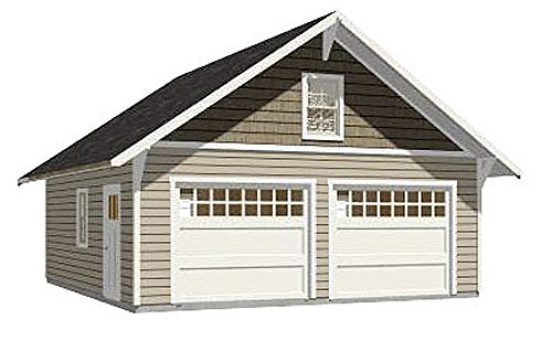 Craftsman Style Garage Plan - 576-14 - 24' x 24' - two car - By Behm Design ()