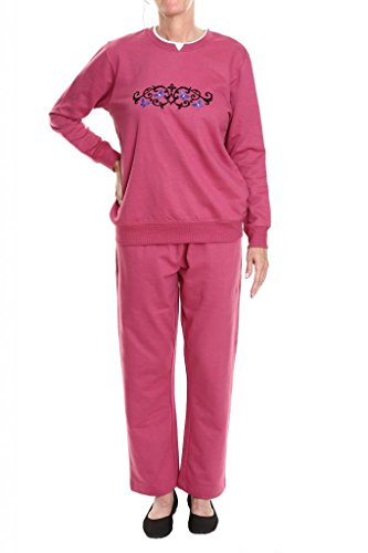 Pembrook Women's Embroidered Fleece Sweatsuit Set-3XL-Berry
