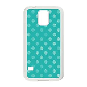 Polka-Dot-Design---Blue Samsung Galaxy S5 Cell Phone Case White Unhia