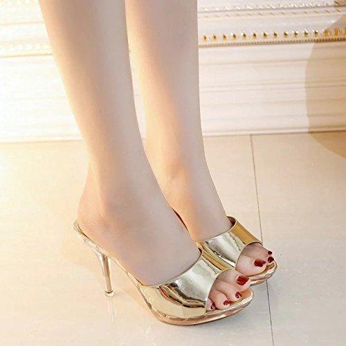 Suhang sandali sandali e e la fine e e trasparente cristallo water-slotted spessore bocca dei pesci Girl Cool pantofole, The Gold, 39 The Gold 377d30
