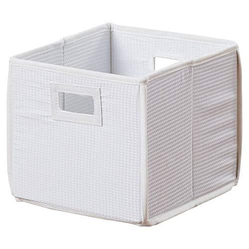 (Basket Bins Folding Storage Cube - Cardboard Storage Cube with Cut Out Handles - White Waffle)